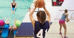 montage of sports images, children learning to swim, girl playing basketball, woman playing squash