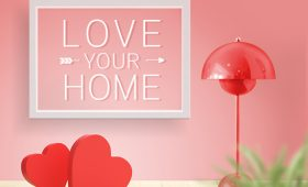 hearts, lamp, love your home sign